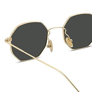 90659b0dd42 Amazon.com  FEISEDY Hipster Polygon Sunglasses Small Metal Frame ...