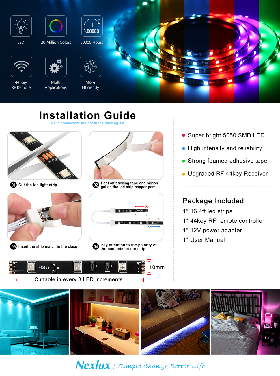 Color lines online strip game - Nexlux 16 4 Ft 5m Waterproof 5050 Smd Rgb Led Flexible Strip Light