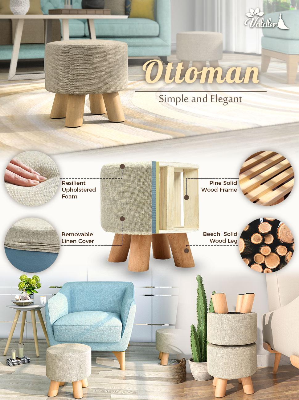 Amazon.com: Valdler Home Round Upholstered Ottoman Foot Stool in ...
