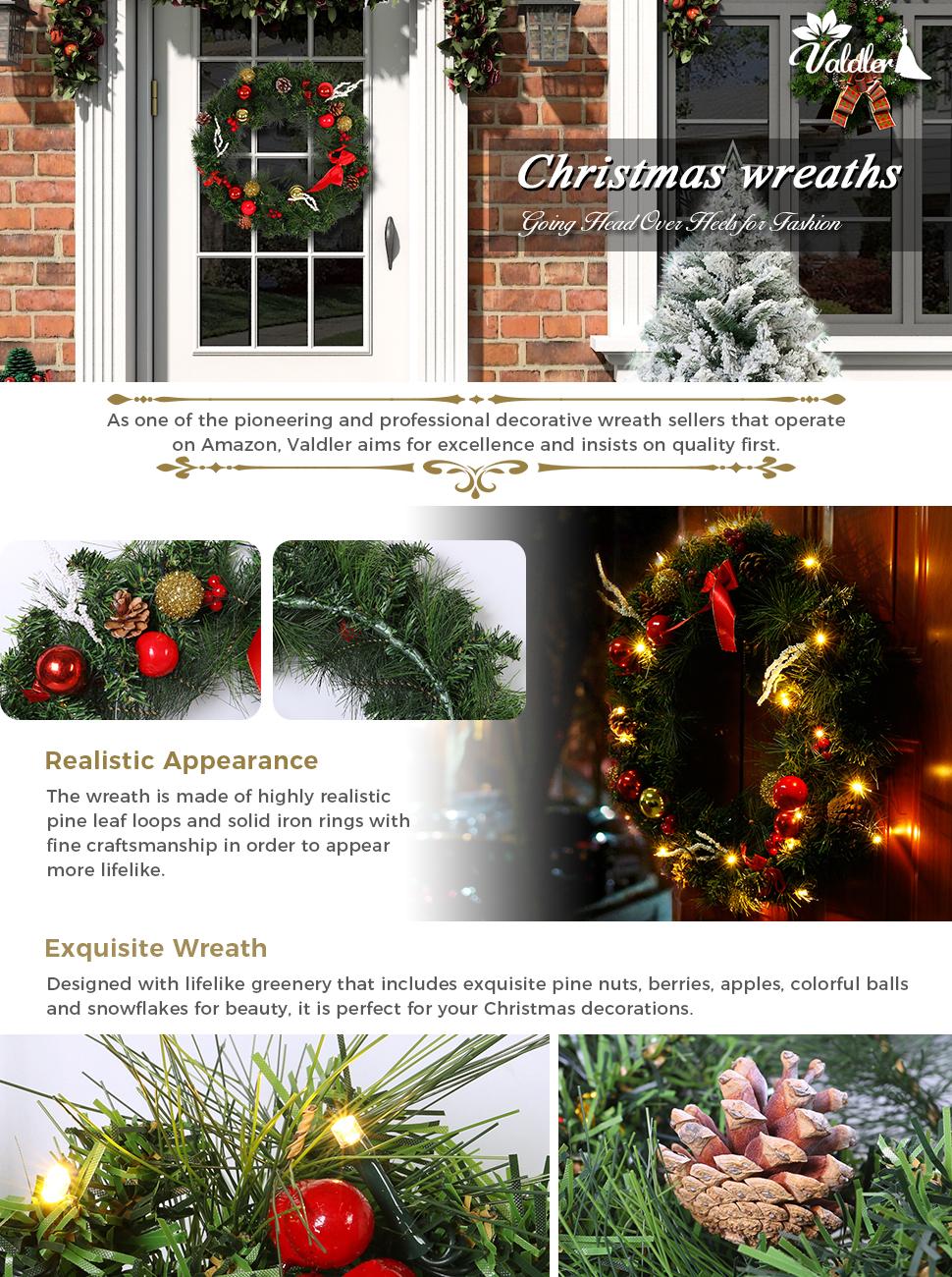 Amazon.com: Valdler 22 Inch Christmas Front Door Wreath with Spruce ...