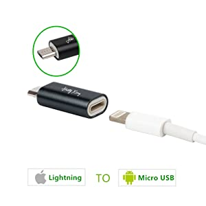 iPhone to Android Adapter, HkittyXiong Apple Lightning to Micro USB Cable Adaptor Charge Sync Connector for Smartphone, Tablet, GPS, Power Bank ...
