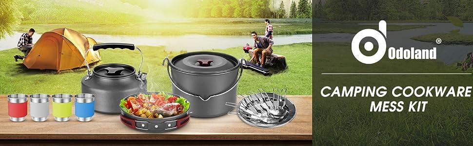Ruiao utensilios de cocina oxidados de aluminio juego de utensilios de cocina port/átil al aire libre para camping Juego de utensilios de cocina para camping picnic mochila senderismo 8 unidades para 1 o 2 personas