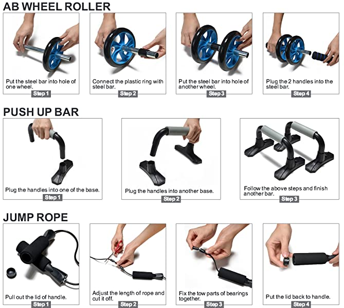2-wheel Ab roller set with push-up bar