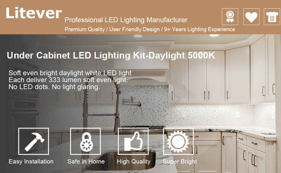 Litever Under Cabinet Lighting Kit Daylight 5000K