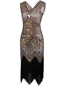 Amazon.com: Vijiv Women 1920s Gastby Sequin Art Nouveau