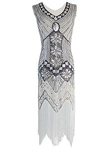 Amazon Com Vijiv Women 1920s Gastby Sequin Art Nouveau