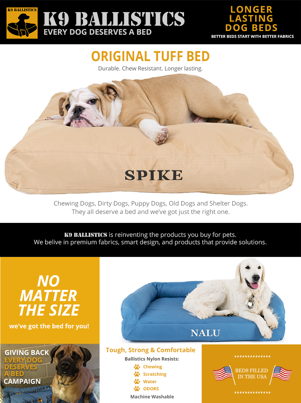 Amazoncom k9 ballistics original tuff bed tan large for Ballistic dog