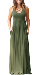 Women's Sleeveless Racerback and Long Sleeve Maxi Dresses with Pockets Plain Loose Long Dresses