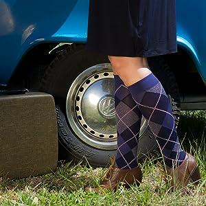 SIGVARIS Women's MICROFIBER SHADES 143 Calf High Compression Socks 15-20mmHg in purple argyle.