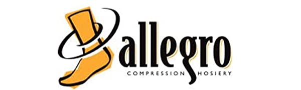 Allegro compression hosiery logo for dress, travel and casual wear.