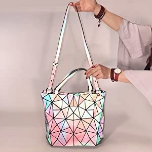 3882d9b95751 Holographic Geometric Luminesk Purse Tote Handbag Reflective Women ...