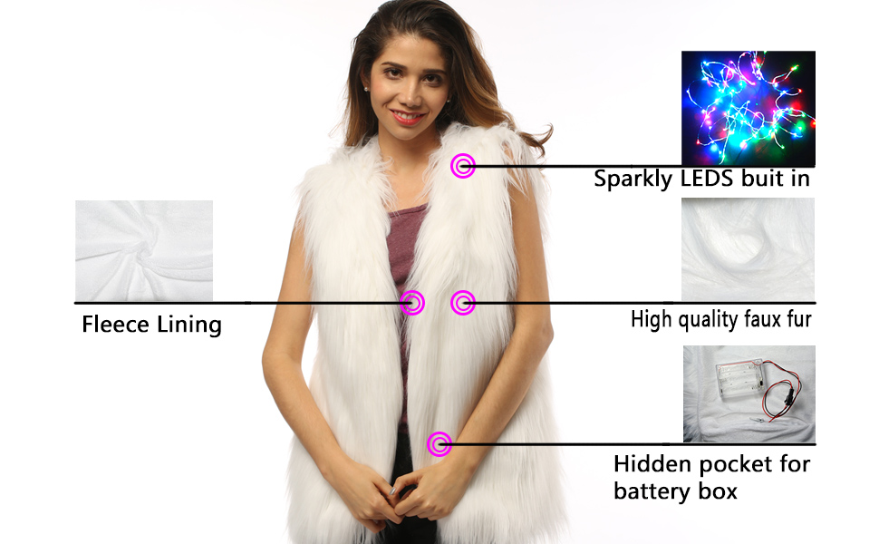 Women Faux Fur Outwear Winter Light Up Burning Glow Fluffy Sparking Rainbow LED Costume Waistcoat