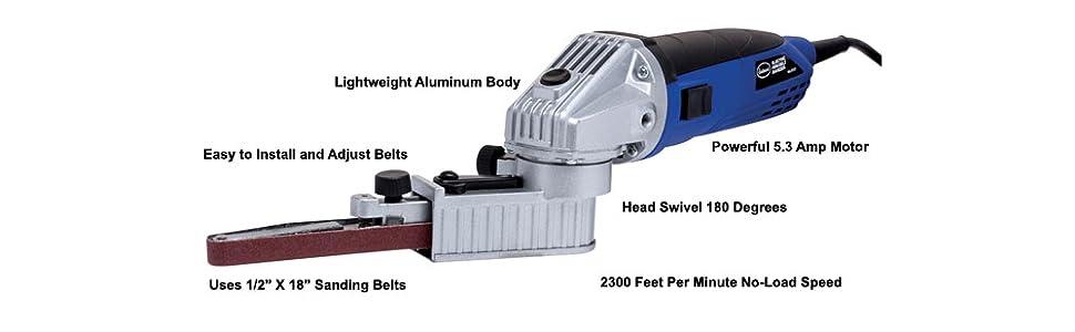 eastwood blue aluminum body power motor bench grind sand belt