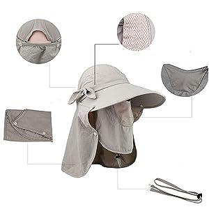 Amazon.com   Epsion Women Summer Neck Flap Sun Visor Hats Wide Brim ... 354e456720d9
