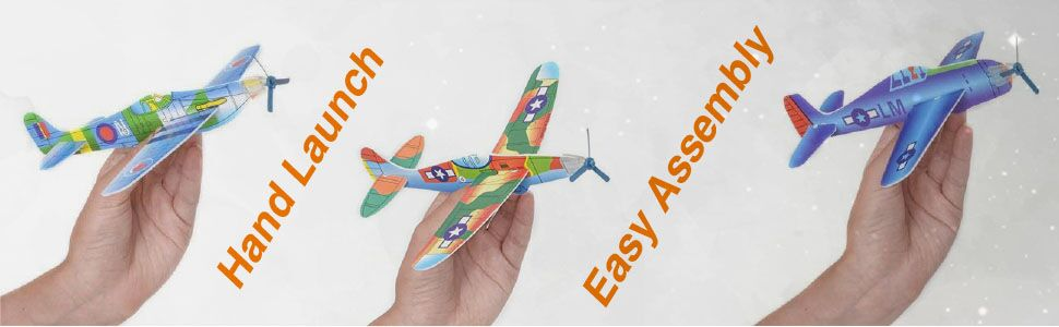 Kicko Flying Glider Planes Toys For Party Kids And All Ages Hand Launch Easy Assembly Styrofoam Assorted 8 Inch Set Of 12