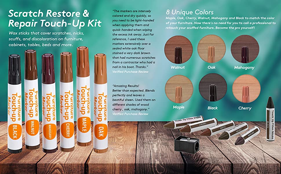 Surprising Katzco Furniture Repair Kit Wood Markers Set Of 13 Markers And Wax Sticks With Sharpener For Stains Scratches Floors Tables Desks Download Free Architecture Designs Barepgrimeyleaguecom