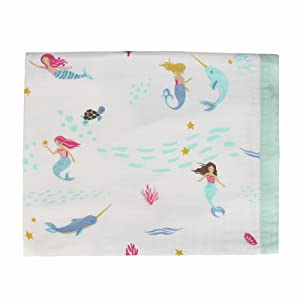 Mermaid Bamboo baby Swaddle Blankets 2 Pack Mermaid /& Narwhal Print Baby Unisex Muslin Blanket for Boys and Girls by Little Jump