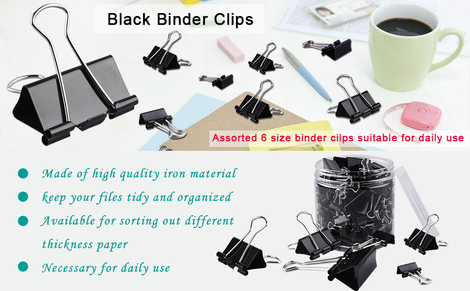 AUSTOR 145 PCS Binder Clips Black Paper Clamps Assorted 6 Sizes Paper Clips with Box for Office, School and Home Supplies