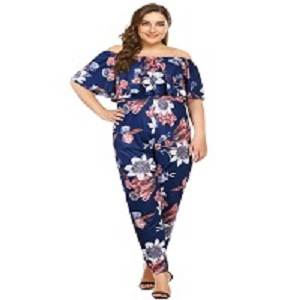 d5e105507e47 Amazon.com  AMZ PLUS Sexy High Waist Plus Size Off Shoulder Floral ...