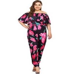 43bf814e3f6 Amazon.com  AMZ PLUS Sexy High Waist Plus Size Off Shoulder Floral ...