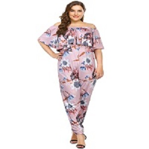 58ce8448fef Amazon.com  AMZ PLUS Sexy High Waist Plus Size Off Shoulder Floral ...
