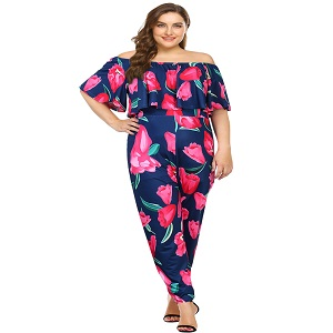af02870897f Sexy High Waist Plus Size Off Shoulder Floral Romper Jumpsuits for Women-Dark  blue-red