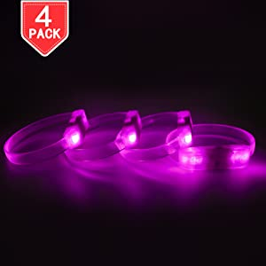 Festivals PROLOSO 4 Pack LED Light Up Bracelets Pink Wristbands for Concerts Night Events Parties Sports