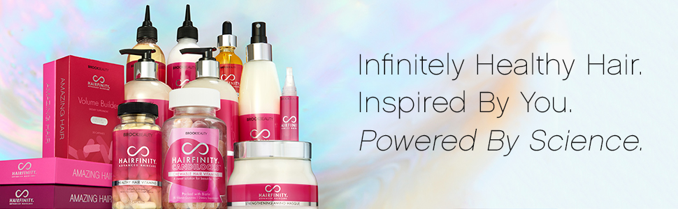 infinitely healthy hair. inspired by you. powered by science. hair vitamins, shampoo, conditioner
