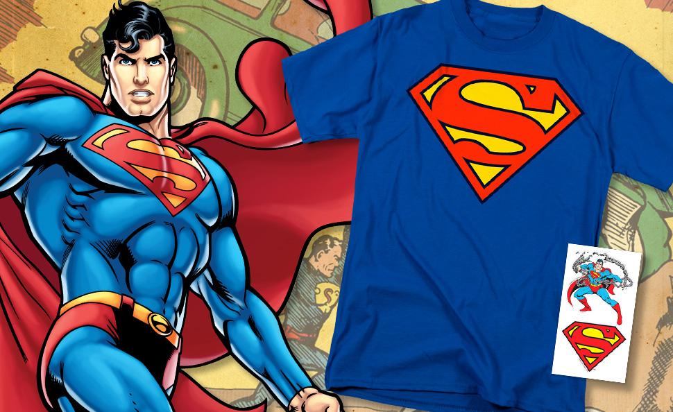 21f50d49 Superman Classic Shield Logo T Shirt & Stickers