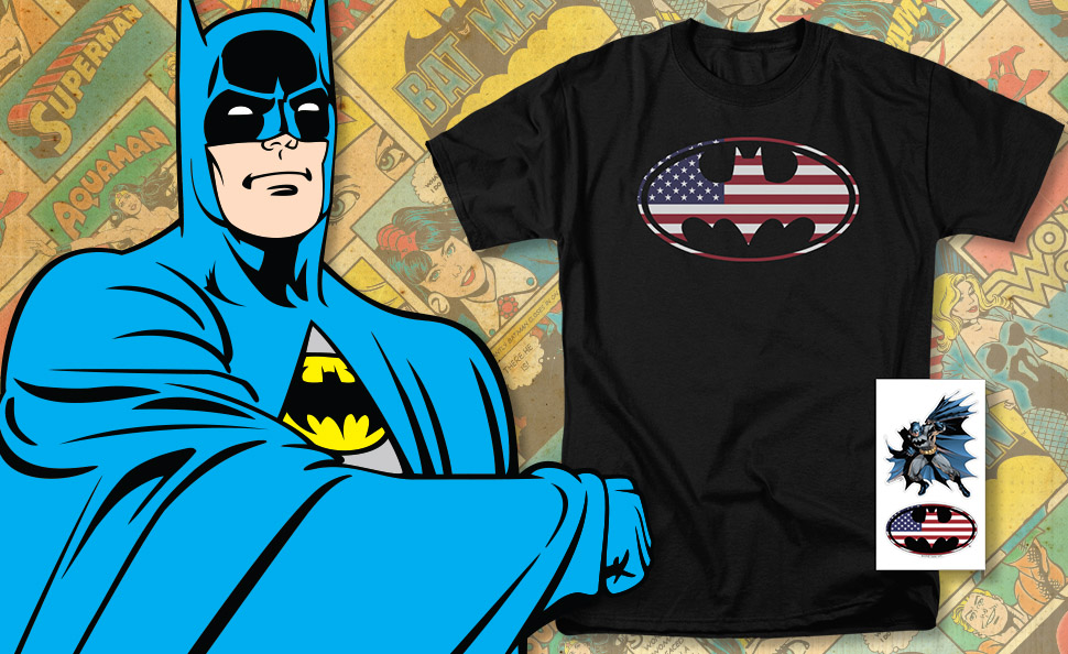 Patriotic USA DC Comics Tee American Flag Superman Logo Shield Mens T-shirt