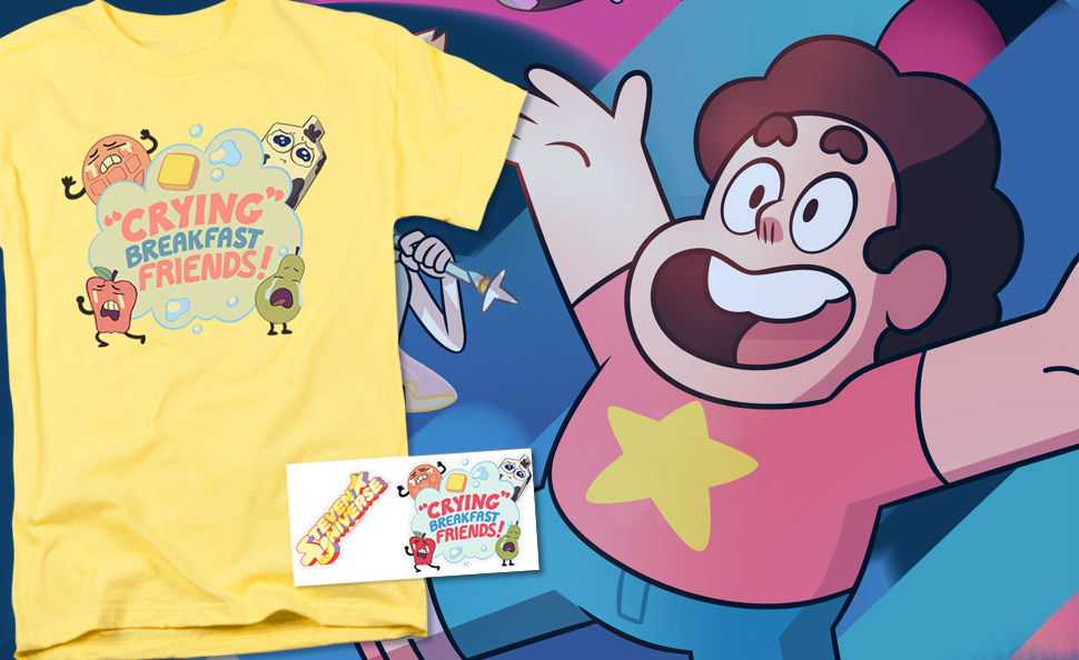 d1cc30d98 Don't be a Sad Apple or Crying Pear, wear them instead with this Crying  Breakfast Friends shirt from Steven Universe! This yellow shirt features  the name of ...