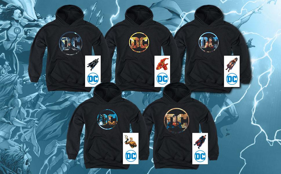 dc comics hoodie, shirt stickers batman superman flash wonder woman aquaman