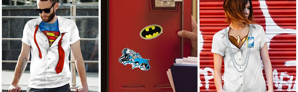 Superman T shirt, Batman T shirt, Wonder woman t shirt, the flash t shirt, stickers