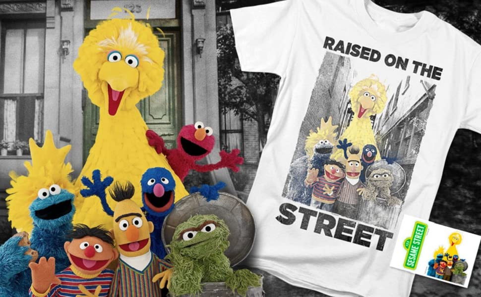 SESAME STREET FACES LONG SLEEVE T-SHIRT ELMO,COOKIE,BIG BIRD,OSCAR,GROVER /& MORE
