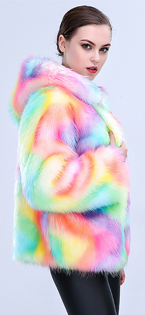 JTENGYAO Women Faux Fur Coat Rainbow Color Winter Thick