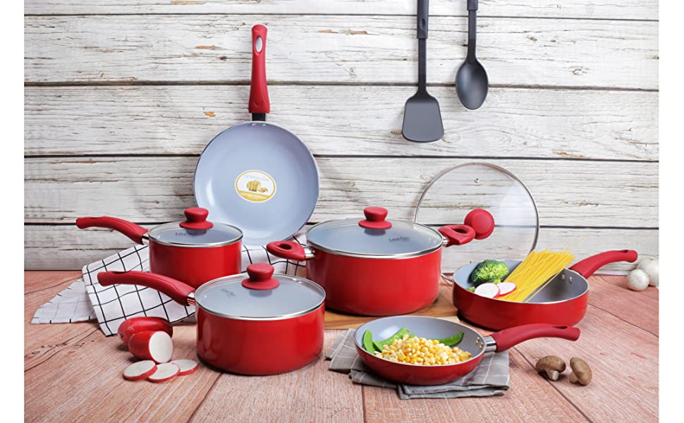 Lovepan Peas Pots and Pans Set, Gray Ceramic Coating Nonstick Aluminum Cookware Set With glass lids and Nylon Utensils, Dishwasher Safe PTFE, PFOA ...