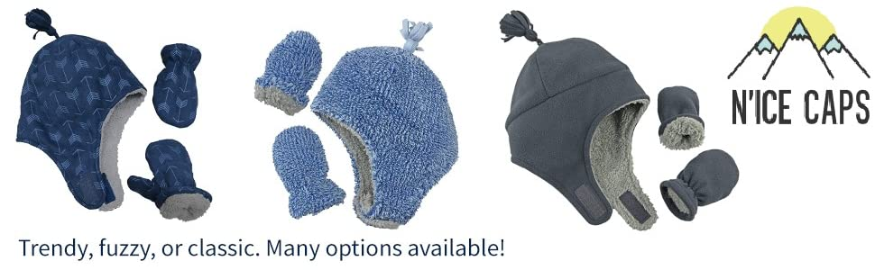 warm soft fuzzy trendy classic color options fleece hat mittens boys cold weather fun outdoors sport