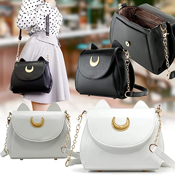 24f7c725a5 Stylish and cute cross body shoulder bag purse with golden moon and cat  ears decoration. Made of high quality Faux leather material with elegant  and ...