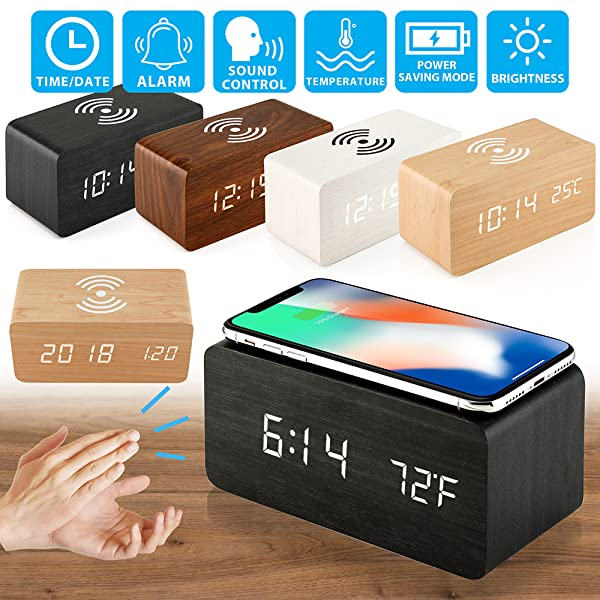 Oct17 Wooden Alarm Clock with Qi Wireless Charging Pad Compatible with iPhone Samsung Wood LED Digital Clock Sound Control Function, Time Date, ...