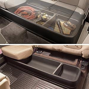G-PLUS Under Seat Storage Box Fit for 2009-2014 Ford F150 F-150 SuperCrew Cab w//Subwoofer Car Seat Storage Organizer Black