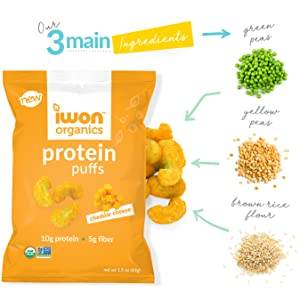 Protein puff ingredients: green peas, yellow peas, brown rice flour.