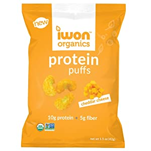 Cheddar cheese protein puffs, savory snack puffs for on-the-go snacking
