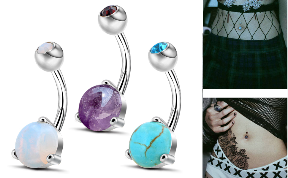 stone belly button rings