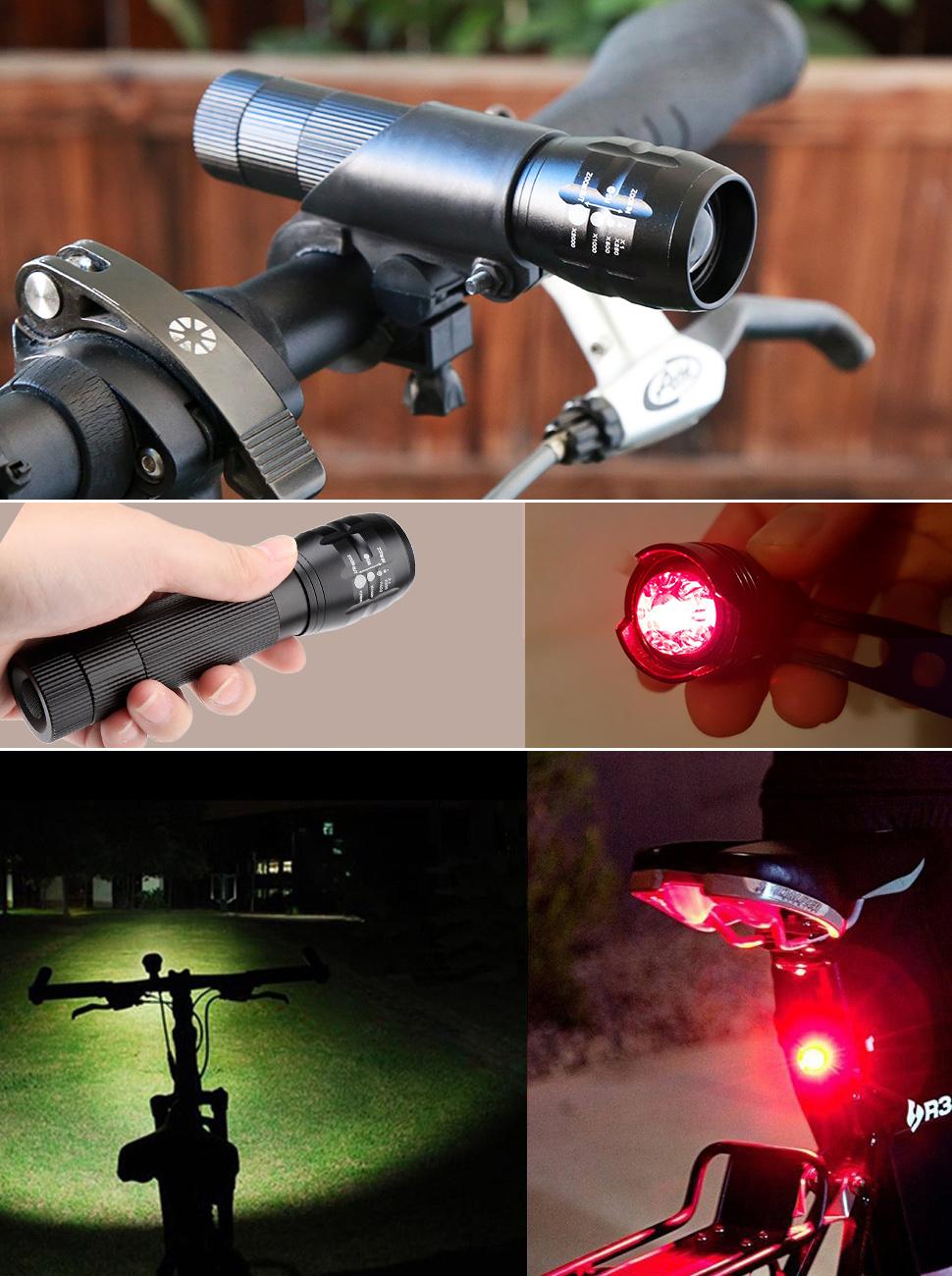 Blusmart Bicycle Headlight Taillight - Super Bright LED Bicycle Light Set, 600 Lumen Waterproof Zoomable Headlight, 2 Taillight, Bike Light Set
