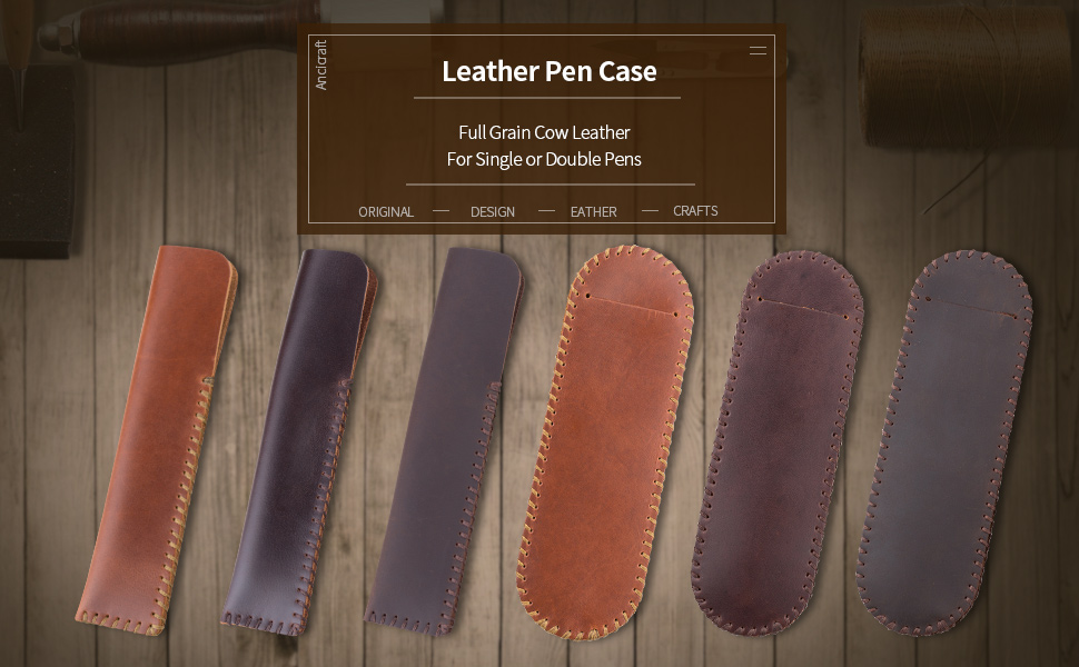 leather pen case for single or double fountain pen