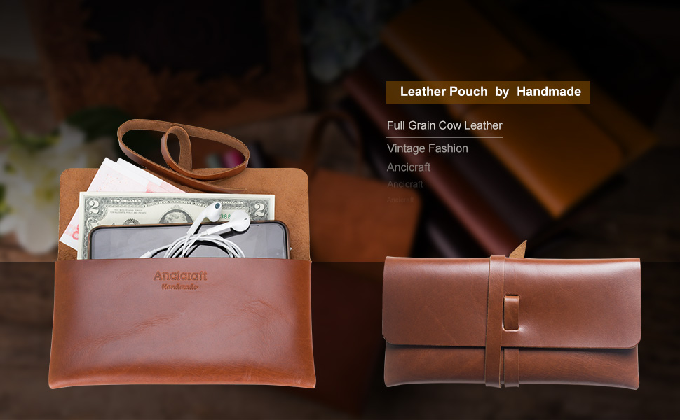 leather pouch pencil case by handmade