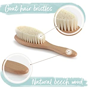 stimulate and massage baby scalp natural wooden hair brush baby grooming kit