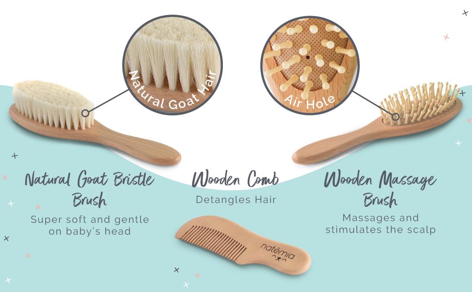 Amazon Com Natemia Premium Wooden Baby Hair Brush And