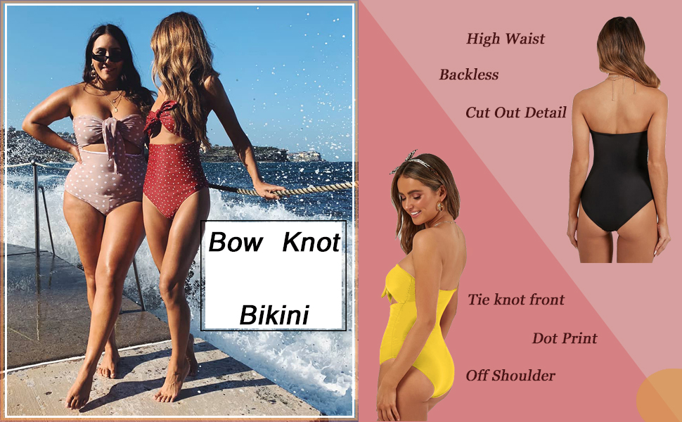 1bb8e607981 CinShein Women's High Waisted Bikini Strapless Dot Bow Knot Front One Piece  Swimsuit