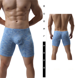 cd44ca823c4c Men's No Ride Up Boxer Briefs Long Leg Underwear Low Rise Trunks with Pouch